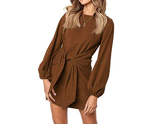 Longwu Women's Loose Casual Front Tie Long Sleeve Bandage Party Dress Chocolate -S