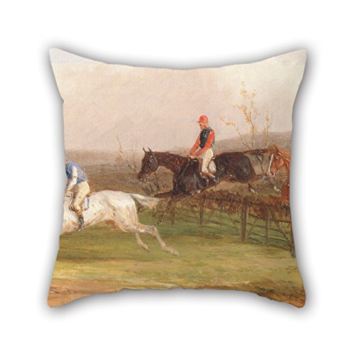 Artistdecor 20 X 20 Inches / 50 By 50 Cm Oil Painting William J. Shayer - Steeplechasing- The Brook Cushion Cases Two Sides Ornament And Gift To Father Kitchen Drawing Room Boys Bedding Wife