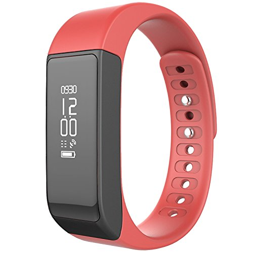 Four Best Oled Smart Bracelet Bluetooth 4.0 Pedometer Tracking Calorie Health Wristband Sleep Monitor, Blac (Red)