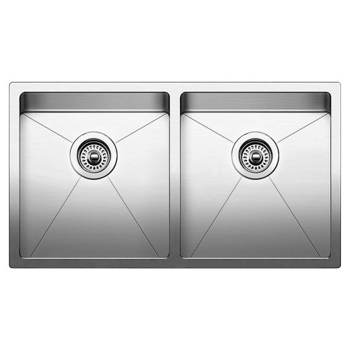 Blanco 519549 Quatrus R15 Under Mount Equal Double Bowl Kitchen Sink, Large, Stainless - Bowl Double Large Undermount