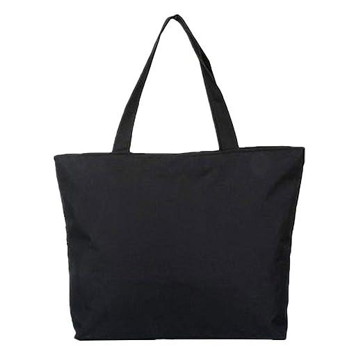 Scrox 1pcs Bolsas de Tela Cremallera Tote Bag Original Color sólido Bandolera Mujer Bolsa Reutilizable Compra Bolsa de Almacenamiento (Negro)