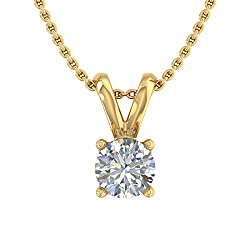 Diamond Solitaire Pendant with Silver Chain