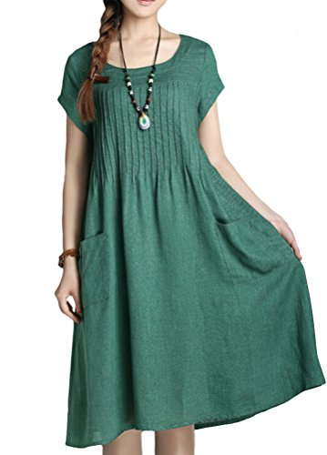 Minibee Women's Summer Solid Color Dress with Two Pockets Style 1 Green XL by Minibee (Image #1)