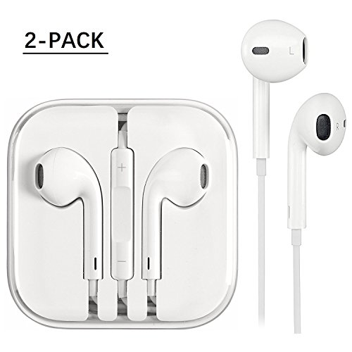 iPhoneEarphones2Pack,Earbuds,StereoHeadphonesWithMicandRemoteControlforiPhone 76s6Plus5s5SE5c iPodiPad (white)