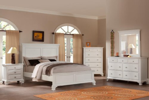 (Roundhill Furniture Laveno 012 White Wood Bedroom Furniture Set, Includes Queen Bed, Dresser, Mirror and Night Stand)
