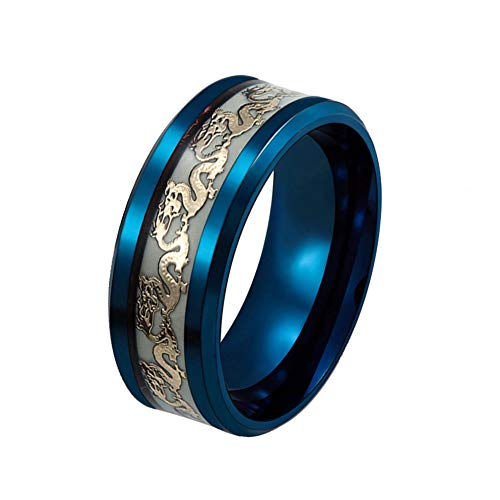 Men's 8mm Luminous Effect Rings Stainless Steel Dragon Pattern Band Ring For Women Glow in the Dark -