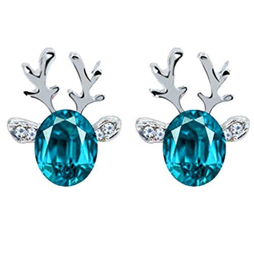 Christmas Earrings Gift! Amaping Luxury Three Dimensional Christmas Reindeer Antlers Earing Xmas Crystal Gemstone Earrings (Light Blue)