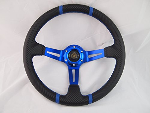 (Yamaha Golf Cart & Polaris Rhino Blue Steering Wheel With Chrome Adapter 3 Spoke)