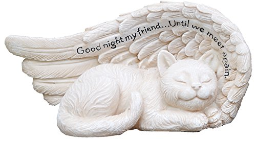 (Napco 11147 Small Sleeping Cat in Angel's Wing Garden Statue with Inscription, 8 x 4)