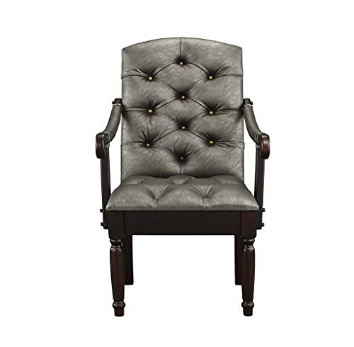 Victorian Tufted Faux Leather Accent Chair - Armchair for Home, Kitchen and Living Room, Traditional Accent Chairs with Arms & Wooden Legs (Grey)...
