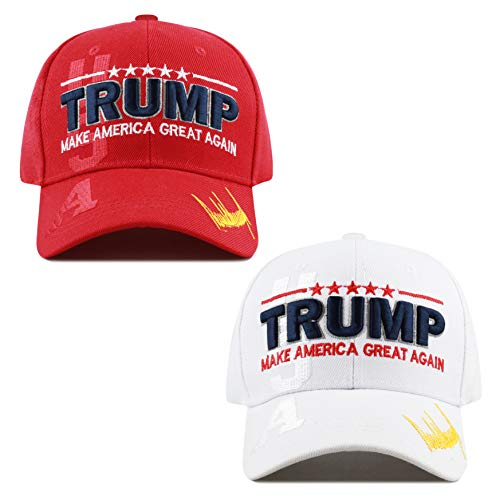 The Hat Depot Exclusive Donald Trump Keep America Great/Make America Great Again 3D Signature Cap (USA Combo - WH)
