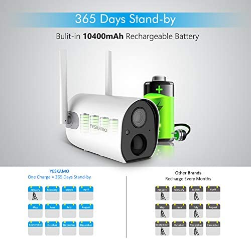 Solar Security Camera Wireless - Outdoor Rechargeable Battery WiFi Camera, YESKAMO 1080P HD Video Solar Powered IP Cameras for Home Security, Wire Free 2 Way Audio Surveillance System