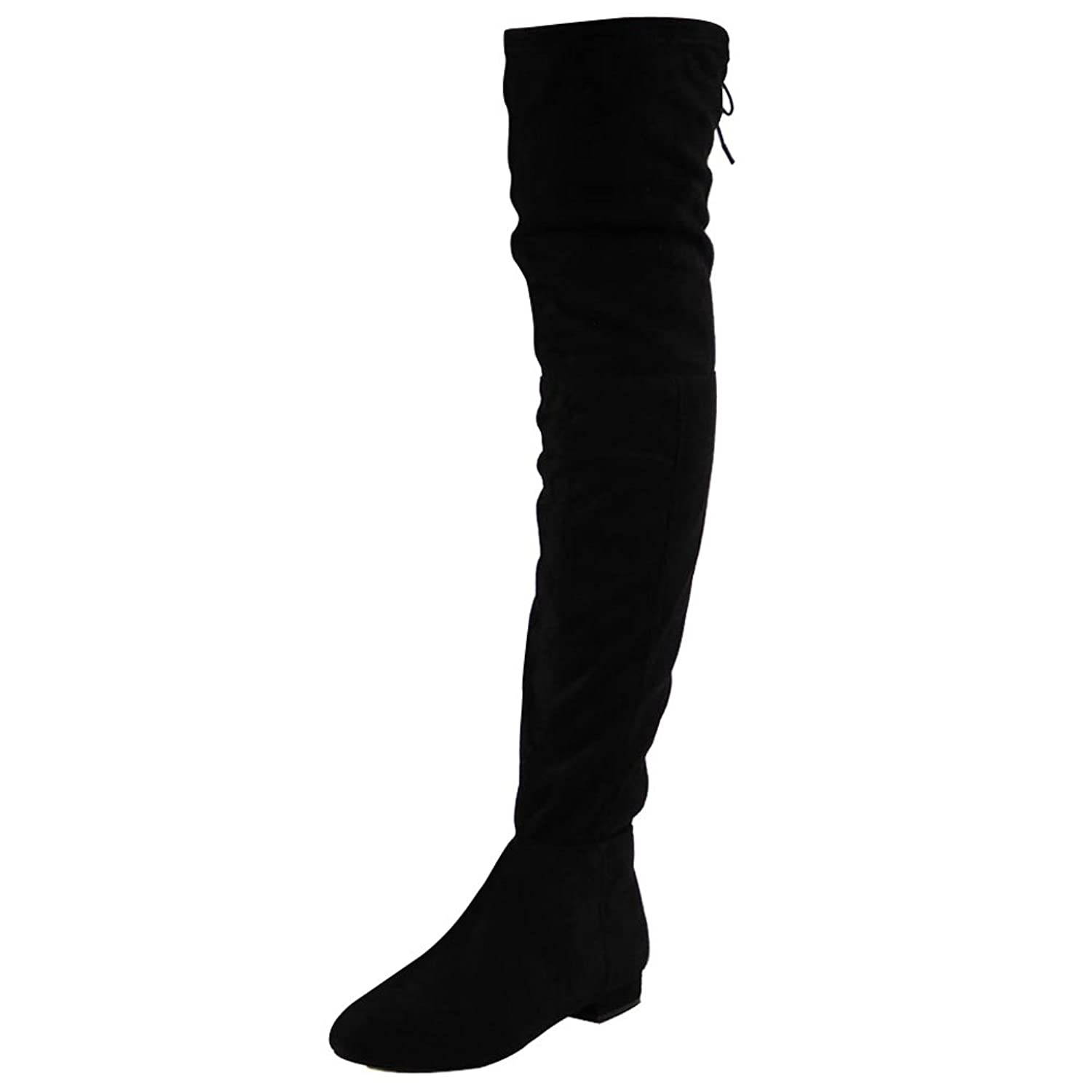 Womens ladies low heel flat thigh high over the knee stretch ...