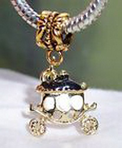 Beads Hut - Princess Carriage Black Gold Plated Dangle Bead fits European Charm Bracelets (Alien Princess Costume)