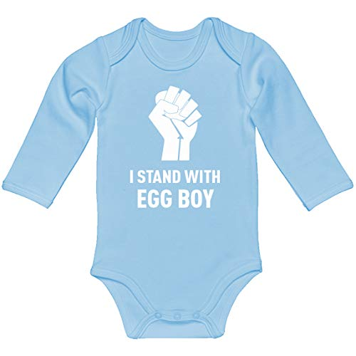 Indica Plateau Baby Romper I Stand with Egg Boy Light Blue for 6 Months Long-Sleeve Infant Bodysuit
