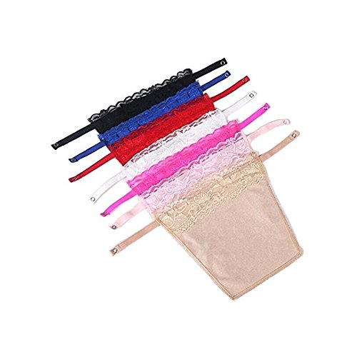 7pcs Lady Lace Clip-on Mock Camisole Bra Insert Overlay Modesty Panel