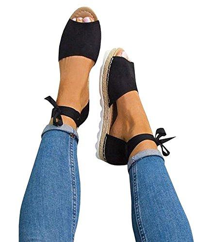 Pxmoda Women's Bandage Flip-Flop Sandal Flats Ankle Wrap Espadrille Flat Sandals (7.5 B(M) US - EU Size 38, 2-Black) Ankle Tie Flats