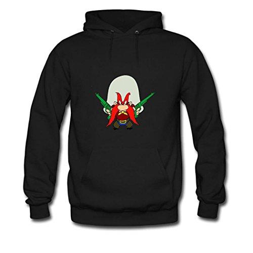 Yosemite Sam Cartoon Women pullover hoodies Black Small