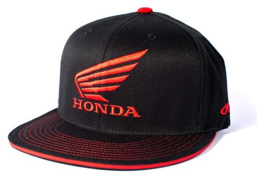 Racing Flex Fit Cap - Factory Effex (17-88390) 'HONDA' Wing Flex-Fit Hat (Black, Small/Medium)