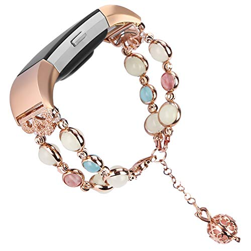 Tomazon Compatible Fitbit Charge 2 Bracelet Bands, Unique Luminous Night Pearl Metal Link Adjustable Accessory Wristband with Perfume Storage Pendant for Women Girl Female (Rose Gold)