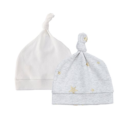 (Owlivia Baby Organic 2-Pack Knot Hat(3-6Months,Metallic Star&White))