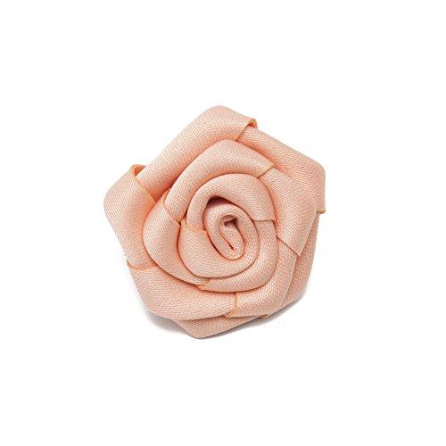 Jacob Alexander Satin Open Rose Lapel Flower Boutonniere - Peach