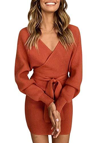 Yidarton Womens Jumper Dress Knitted Dress Sweater Dress Elegant V-Neck Backless Long Sleeve Tunic Dress with Belt