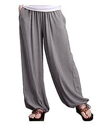 Aivtalk Women's Cotton Pants Daily Leg Palazzo Pants Casual Harem Trousers
