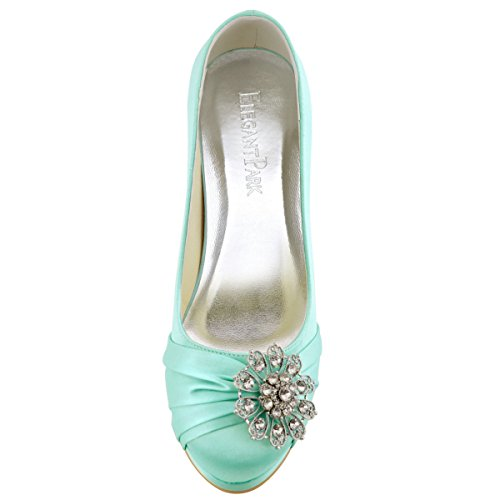 ElegantPark EP2015 Women Pumps Closed Toe Platform High Heel Buckle Satin Prom Evening Dress Shoes Mint US 5