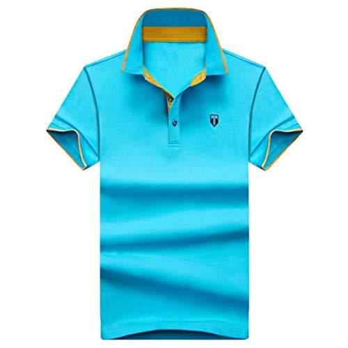 (Stoota Summer Men's Fashion New Golf Shirt Solid,Lapel Tee,Short Sleeves Blouse)