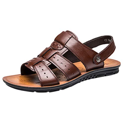 Corriee Mens Leather Sandals Summer Outdoor Sports Anti-Slip Breathable Shoes Fisherman Beach Sandal Slippers