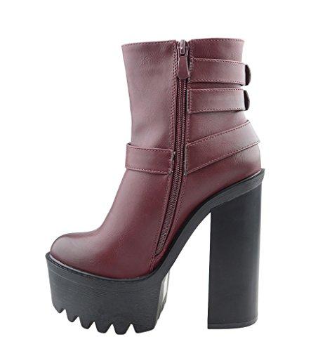 Eyekepper moda mujer correa de tobillo cremallera lateral Chunky Heels botas de PU Bordo