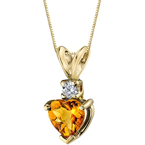 - 14 Karat Yellow Gold Heart Shape 0.75 Carats Citrine Diamond Pendant