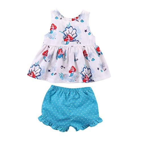 Toddler Baby Little Girls Mermaid Top T-Shirt Shorts Pant Outfits Sets Daddy's Princess 2pcs Summer Clothes (Blue, 2-3 Years) -