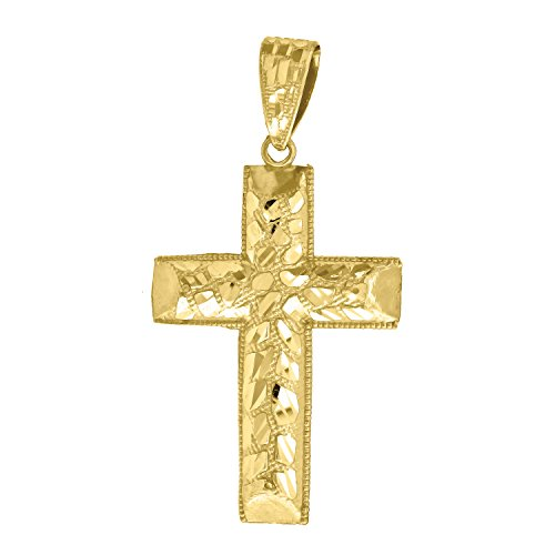 Jewels By Lux 10k Yellow Gold Diamond-cut Mens Nugget Cross (Ht:57mm x W:29mm) Religious Charm Pendant -