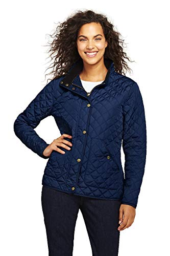Lands' End Women's Quilted Barn Insulated Jacket, L, Deep Sea