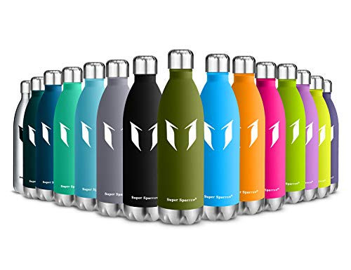 Super Sparrow Vacuum Insulated Bottle - 24 Hours Cold & 12Hours Hot - Sports Water Bottle, Vacuum Flask Bottle ,Includes Straw Lid- BPA Free(Forest Green-750ml)