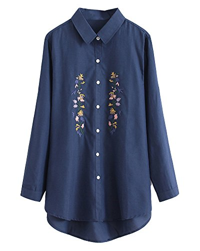 HOOBEE LINEN Women's Roll Up Sleeve High-Low Hem Floral Embroidered Shirt Top with Pockets
