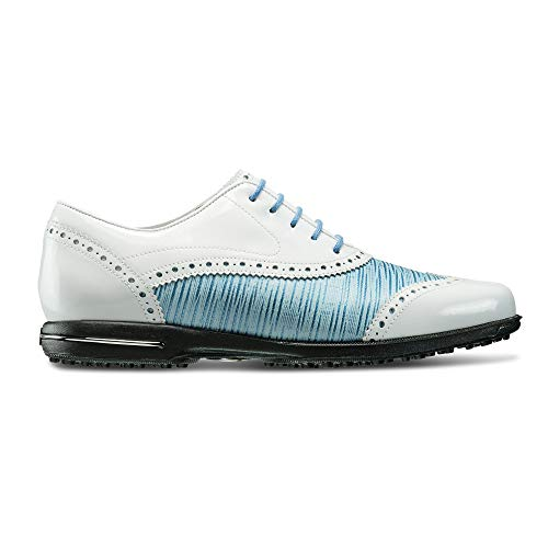 FootJoy Women's Tailored Collection-Previous Season Style Golf Shoes White 8 M Patent/Ocean Blue, US