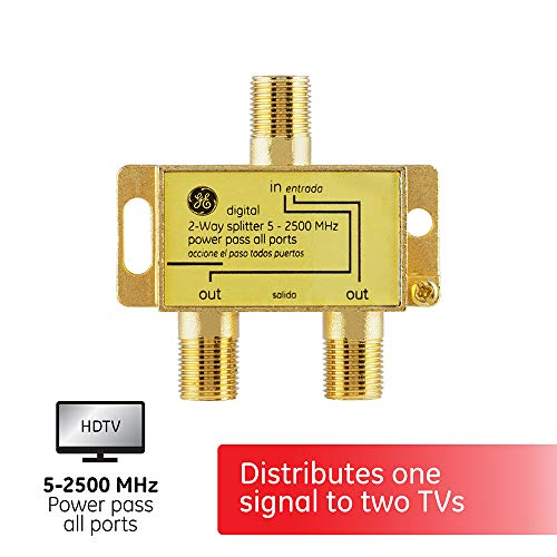 GE Digital 2-Way Coaxial Cable Splitter, 2.5 GHz 5-2500 MHz, RG6 Compatible, Works with HD TV, Satellite, High Speed Internet, Amplifier, Antenna, Gold Plated Connectors, Corrosion Resistant, 33526