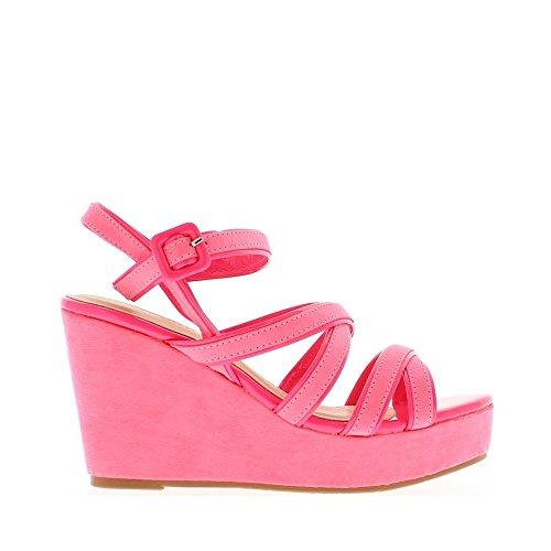 Sandales compensées roses fluos à talon de 9,5cm et plateau avant