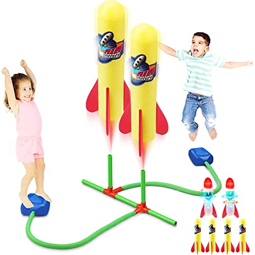 Bonbell Rocket Launcher for Kids, 4 Foam Rockets & 2 LED Rockets, 100 Feet Air Powered, Kids Outdoor Toy for Garden, Park, Birthday Gift for Boys Girls Age 3-12