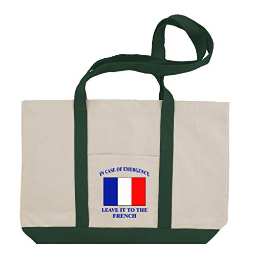 (In Case Of Emergency, Leave It To French Cotton Canvas Boat Tote Bag Tote - Green)