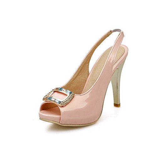 Amoonyfashion Solidi Sandali Con Fibbia In Punta Di Peep Toe In Pelle Rosa
