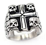 TEMEGO Jewelry Mens Stainless Steel Ring, Vintage Gothic Cross Skull Wing Band, Black Silver