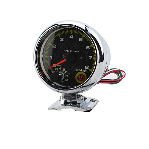 Zinnor DC 12V Universal Car 3.75'' RPM Tachometer Tacho Gauge With Shift Light 0-8000 Ship from USA by Zinnor