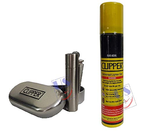 Us24 Pack Clipper Metal Cigarette Lighter Silver 1 Pc With Clipper Lighter Gas Refill Can 100ml 1pc Amazon In Health Personal Care