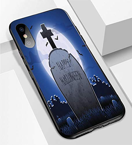 iPhone X/XS Ultra-Thin Phone case Old Gravestone at Night with Happy Halloween Word in Cemetery Anti-Drop Anti-Slip Soft Convenient Protective Shell