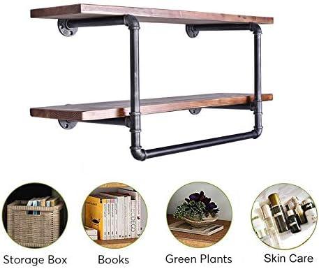 Amazon Com 36 Inch Industrial Pipe Wood Shelf With Towel Bar 2