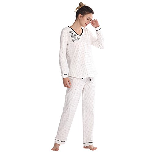 Jual Keyocean Women Pajamas 100% Cotton Long Sleeve Long Pant Soft ... 4a61bf0a4